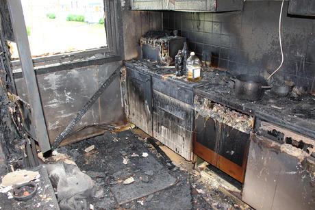 Kjøkken etter komfyrbrann