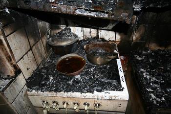 Bilde av komfyr etter brann