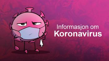 """Illustrasjonsbilde med tekst """"informasjon om Koronavirus"""